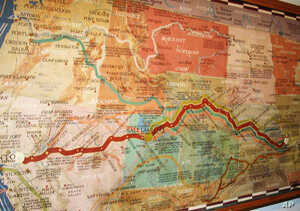 A map at the Pony Express National Museum shows the long and harrowing route that the young, brave riders traveled in relays on horseback from St. Joseph to Sacramento.