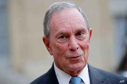 Former New York City Mayor Michael Bloomberg speaks to media after a meeting with French president Francois Hollande, at the Elysee Palace, in Paris, March 9, 2017.