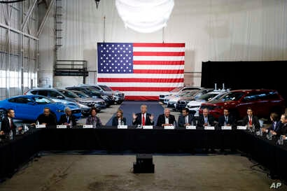 President Donald Trump hosts a roundtable discussion at the American Center of Mobility in Ypsilanti Township, Michigan, March 15, 2017.
