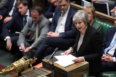 Prime Minister Theresa May talks about Brexit 'plan B' in Parliament, in London, Britain, Jan. 29, 2019.