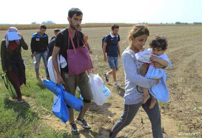 A group of migrants walk on the Serbian side of the border with Croatia, near Sid, Serbia, Sept. 16, 2015.