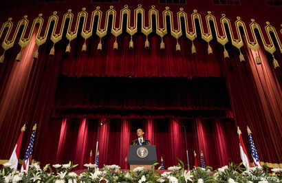 U.S. President Barack Obama speaks in the Grand Hall of Cairo University in Cairo June 4, 2009. Obama told world Muslims on Thursday that violent extremists have exploited tensions between Muslims and the West, and that Islam was not part of the prob...