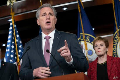 House Minority Leader Kevin McCarthy, R-Calif., speaks to reporters at the Capitol in Washington, Feb. 13, 2019.