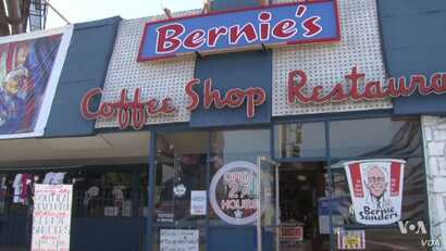 Visitors come to the old Bernie's Coffee Shop now converted to a Sanders art museum filled with original work from supporters.