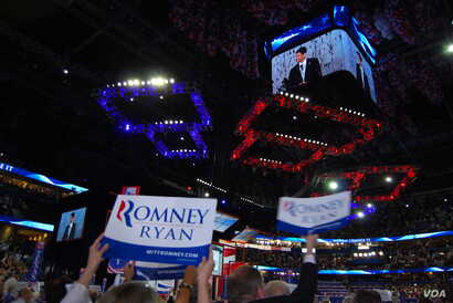 Delegates reacted to the speech by Republican vice presidential nominee Paul Ryan at the Republican National Convention, Tampa, Florida, August 29, 2012. (J. Featherly/VOA)