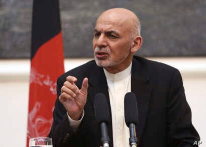 Afghan President Ashraf Ghani speaks during a joint press conference in Kabul, July 12, 2016.
