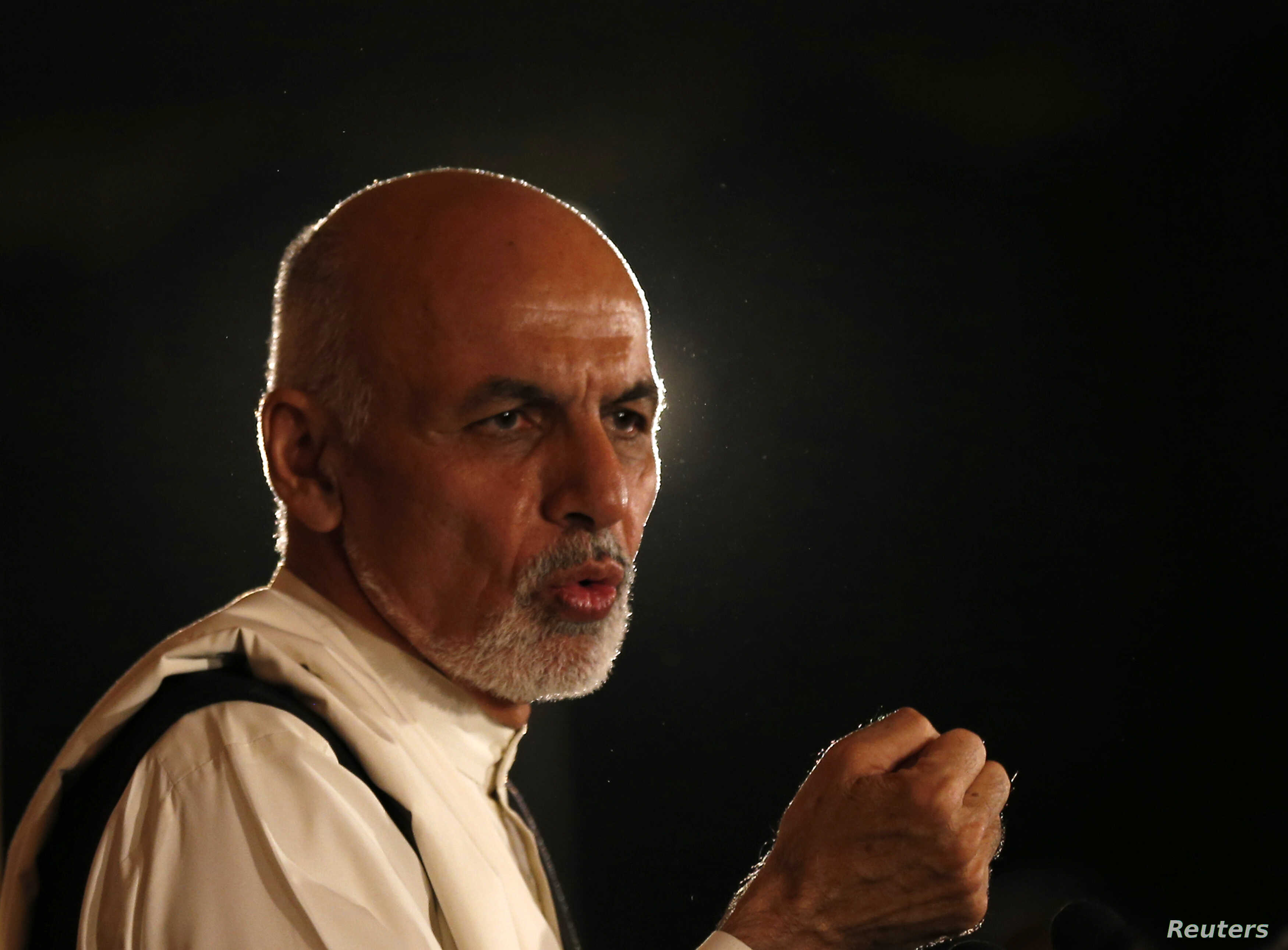 Afghan presidential candidate Ashraf Ghani speaks during a news conference in Kabul, Afghanistan, Sept. 10, 2014.
