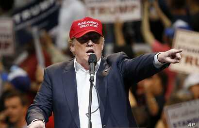Republican presidential candidate Donald Trump speaks during a campaign rally Saturday, March 19, 2016, in Tucson, Arizona.