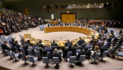 United Nations Security Council meets at U.N. headquarters to discuss a resolution on Venezuela, Feb. 26, 2019.