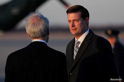 White House Staff Secretary Rob Porter arrives with U.S. President Donald Trump and first lady Melania Trump aboard Air Force One at Joint Base Andrews, Maryland, U.S. Feb. 5, 2018.