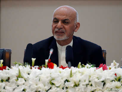 Afghan President Ashraf Ghani speaks during during a peace and security cooperation conference in Kabul, Afghanistan Feb. 28, 2018.
