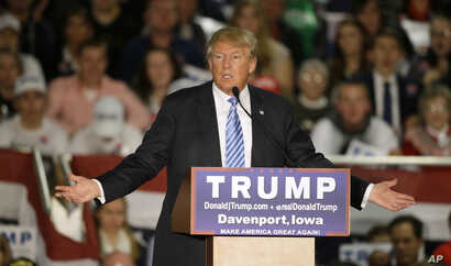 Republican presidential candidate Donald Trump speaks during a campaign rally, Dec. 5, 2015, in Davenport, Iowa.