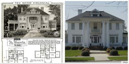 (Left) Floorplan of Sears Magnolia kit house from the 1921 Sears Modern Homes catalog (Right) A Sears Magnolia kit house located in Benson, North Carolina.