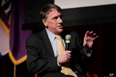 FILE - Peter Galbraith, former U.S. ambassador to Croatia, participates in a panel discussion on the Bosnian peace agreement and the beginnings of 21st-century diplomacy in New York, Feb. 9, 2011.