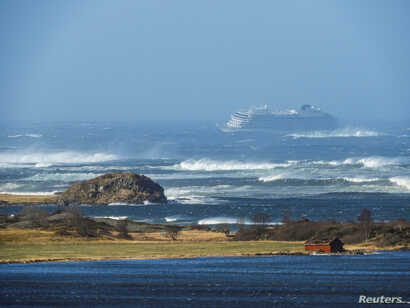 The cruise ship Viking Sky drifts toward land after an engine failure, Hustadvika, Norway, March 23, 2019.