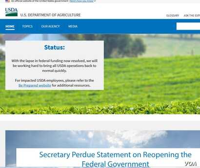 U.S. Department of Agriculture website notice about the end of the partial government shutdown.
