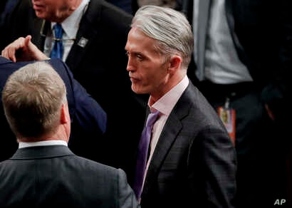 FILE - Rep. Trey Gowdy, R-SC., seen on the House floor for the arrival of President Donald Trump to addresses a joint session of Congress on Capitol Hill in Washington, Jan. 30, 2018.