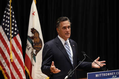 Republican presidential candidate Mitt Romney speaks to reporters about a secretly-taped video from one of his campaign fundraising events in Costa Mesa, California, September 17, 2012.