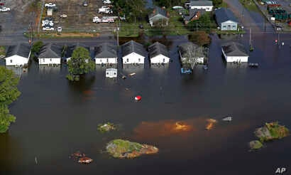 Floodwater from Hurricane Florence threatens homes in Dillon, South Carolina, Sept. 17, 2018.