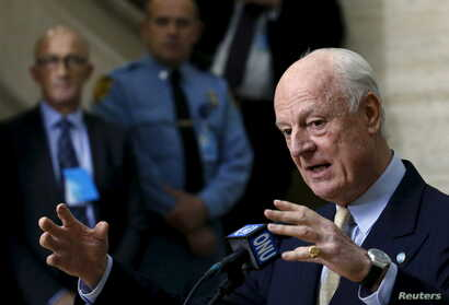 U.N. mediator for Syria Staffan de Mistura gestures during a news conference after a meeting with the Syrian High Negotiations Committee (HNC) during the peace talks at the United Nations in Geneva, Switzerland, Feb. 1, 2016.