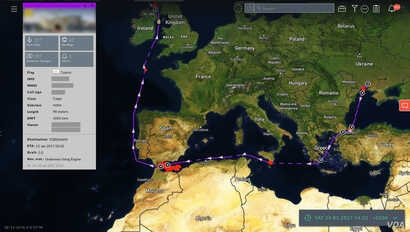 Ukraine to Scotland route, via North Africa