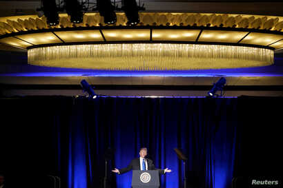 U.S. President Donald Trump delivers remarks at the Major County Sheriffs and Major Cities Chiefs Association Joint Conference in Washington, Feb. 13, 2019.