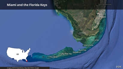 Map of Miami and the Florida Keys