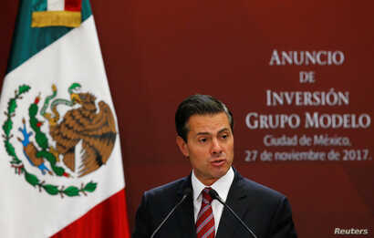 Mexican President Enrique Pena Nieto gives a speech at Los Pinos presidential residence in Mexico City, Mexico Nov. 27, 2017.