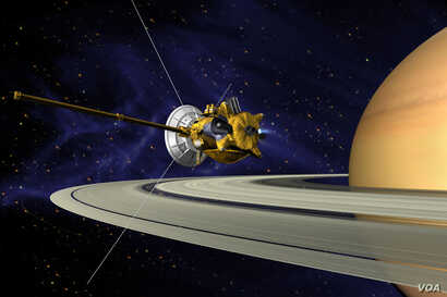 An artists concept of Cassini during the Saturn Orbit Insertion maneuver, just after the main engine has begun firing.