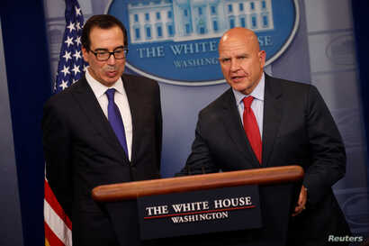 U.S. Treasury Secretary Steven Mnuchin, left, and National Security Advisor H.R. McMaster address sanctions on Venezuelan President Nicolas Maduro, during the daily press briefing at the White House in Washington, July 31, 2017.