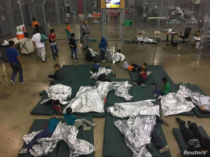 A view inside the U.S. Customs and Border Protection detention facility shows children at Rio Grande Valley Centralized Processing Center in Rio Grande City, Texas, June 17, 2018.