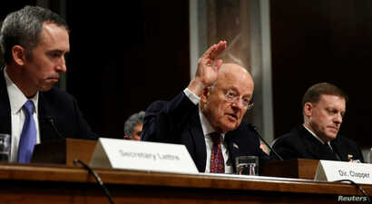 Director of National Intelligence James Clapper testifies before a Senate Armed Services Committee hearing on foreign cyber threats, on Capitol Hill in Washington, Jan. 5, 2017.