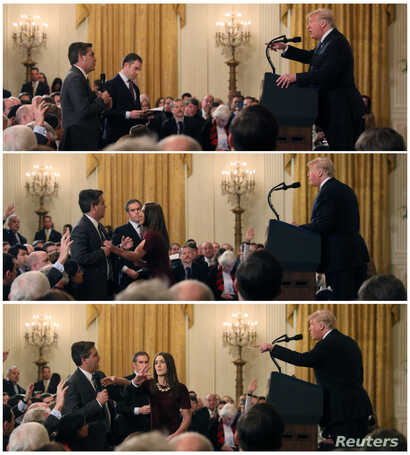 A White House staff member reaches for the microphone held by CNN's Jim Acosta as he questions U.S. President Donald Trump during a news conference following Tuesday's midterm congressional elections, in a combination of photos at the White House in ...