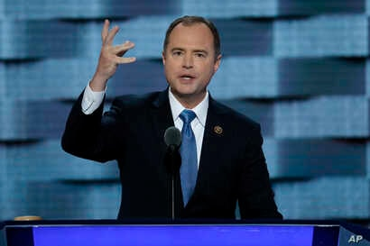 """FILE - U.S. Rep. Adam Schiff of California, pictured at the Democratic National Convention in Philadelphia in July 2016, says Michael Flynn's willingness to promote fake news """"raises profound questions about his suitability"""" for the job of national s..."""