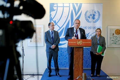 U.N. Independent Investigation on Burundi independent experts (L to R) Pablo de Greiff, Christof Heyns and Maya Sahli-Fadel speak upon presenting a final report, Sept. 27, 2016.