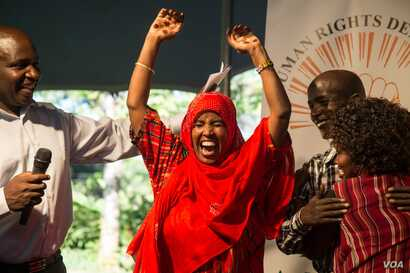 Rahma Wako celebrates after being named a Human Rights Defender of the year in 2017. (Photo: Embassy of The Netherlands, Kenya)