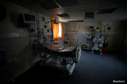 A room of the intensive care unit is seen empty of patients due to power shortages at Durra hospital in Gaza City, Feb. 6, 2018.