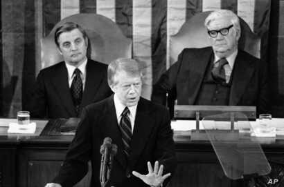 FILE - President Jimmy Carter delivers his State of the Union message to a joint session of Congress in Washington,  Jan. 19, 1978. Carter sent his final message, in 1981, in print.
