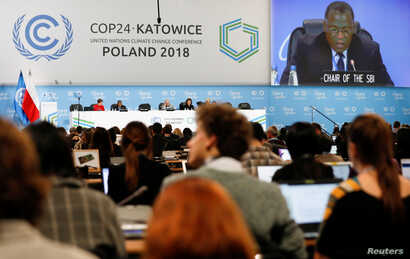 Participants take part in plenary session during COP24 U.N. Climate Change Conference 2018 in Katowice, Poland, Dec. 13, 2018.