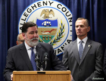 Pittsburgh Mayor Bill Peduto talks at a news conference the day after the Tree of Life synagogue shooting in Pittsburgh, Pennsylvania, October 28, 2018.