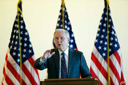 Attorney General Jeff Sessions speaks to law enforcement officials about transnational organized crime and gang violence at the Federal Courthouse, Sept. 21, 2017, in Boston.