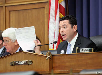 House Oversight and Government Reform Committee Chairman Rep. Jason Chaffetz, R-Utah speaks on Capitol Hill in Washington, Sept. 17, 2015.