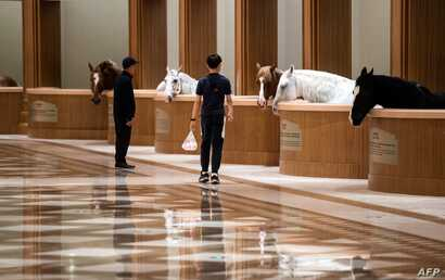 FILE - Visitors walk past stables at the Horse Culture Museum, part of an equestrian-themed town in Jiangyin, Jiangsu province, some 200 kilometers northwest of Shanghai, China, Oct. 20, 2018.