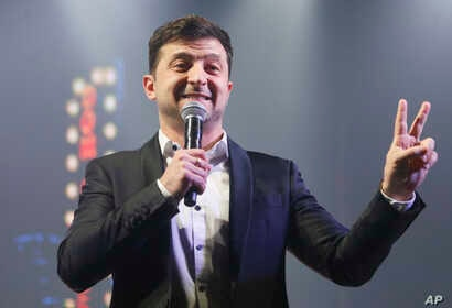 Volodymyr Zelenskiy, Ukrainian actor and candidate in the upcoming presidential election, hosts a comedy show at a concert hall in Brovary, Ukraine, March 29, 2019.