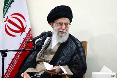 In this picture released by an official website of the office of the Iranian supreme leader, Supreme Leader Ayatollah Ali Khamenei attends a meeting with judiciary officials, in Tehran, Iran, June 27, 2018.