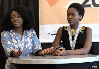 Afua Osei, left, and Dami Oyefeso host a gathering on funding tech startups at SXSW in Austin, Texas, March 13, 2018 (K. Choudhury/VOA)