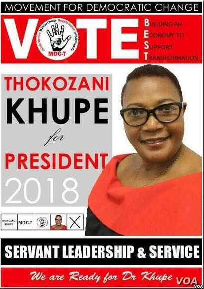 Thokozani Khupe, who was Zimbabwe's first female deputy prime minister, is running for president in 2018. (VOA)