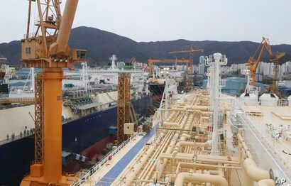 Liquefied natural gas (LNG) carriers are being constructed at the Daewoo Shipbuilding and Marine Engineering facility in Geoje Island, South Korea, Dec. 7, 2018. More than half of the 35 vessels scheduled for delivery in 2018 were LNG carriers.