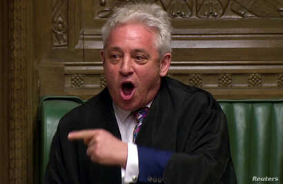Speaker of the House John Bercow announces the results of the vote on Brexit options in Parliament in London, March 27, 2019, in this screen grab taken from video.