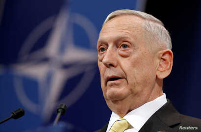 US Defense Secretary Jim Mattis addresses a news conference during a NATO defence ministers meeting at the Alliance headquarters in Brussels, Belgium, Feb. 16, 2017.